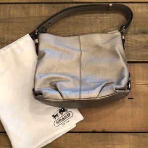 Coach Silver Leather Handbag